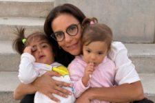 Ivete Sangalo e filhas gêmeas, Marina e Helena (Reprodução)
