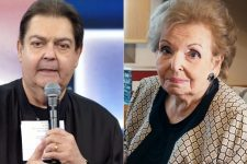 Fausto Silva e a mãe, Cordélia Silva, durante o Domingão do Faustão (Foto: Reprodução/TV Globo)