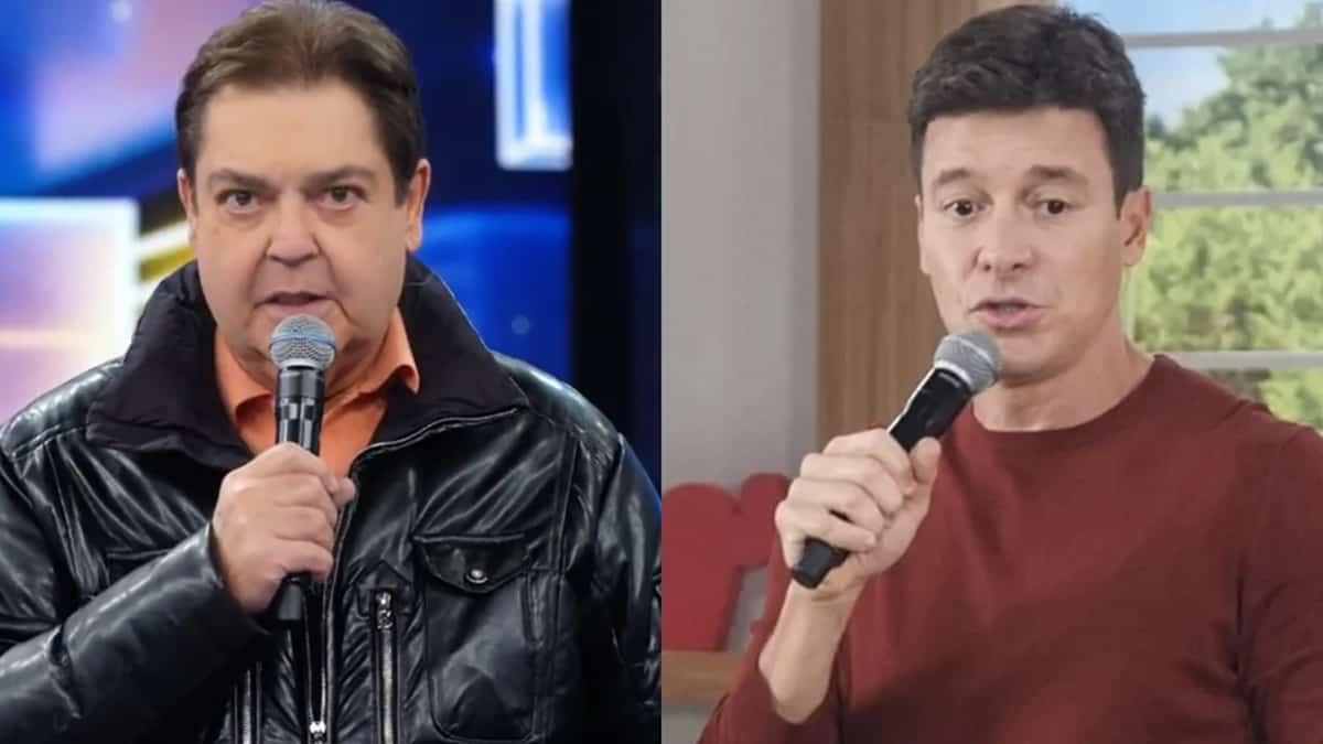 Faustão e Rodrigo Faro; apresentador da Record deixou recado após Globo definir fim do Domingão (Foto: Reprodução/TV Globo/Record)
