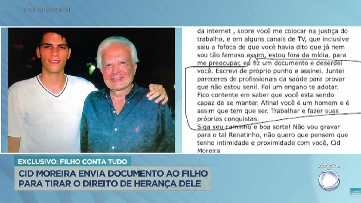 Filho adotivo de Cid Moreira mostra mensagem enviada pelo jornalista (Foto: Reprodução/Record)