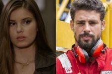 Camila Queiroz (Angel) em Verdades Secretas e Cauã Reymond (Dante) em Ilha de Ferro (Foto: Reprodução/TV Globo/Artur Meninea)