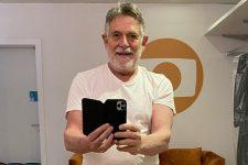 José de Abreu nos bastidores da novela Um Lugar ao Sol, na Globo (Foto: Reprodução/Instagram)