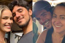 Gabriel Medina com esposa, Yasmin Brunet, e com a mãe, Simone Medina (Foto: Reprodução/Instagram)
