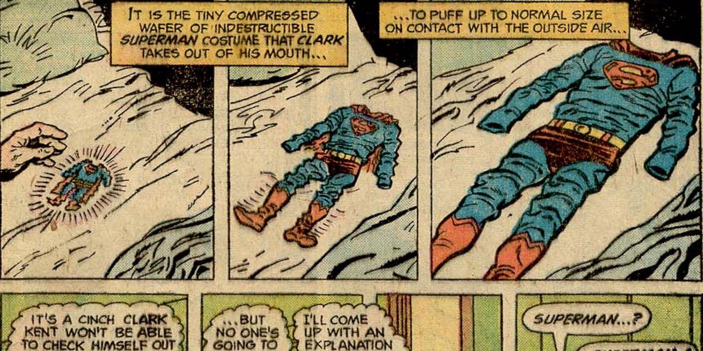 Traje do Superman sendo diminuido