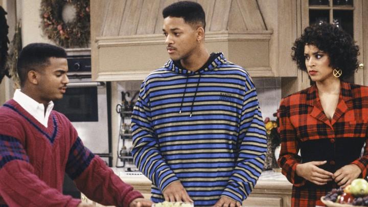 Alfonso Ribeiro, Will Smith e Karyn Parsons em Um Maluco no Pedaço, em 1991