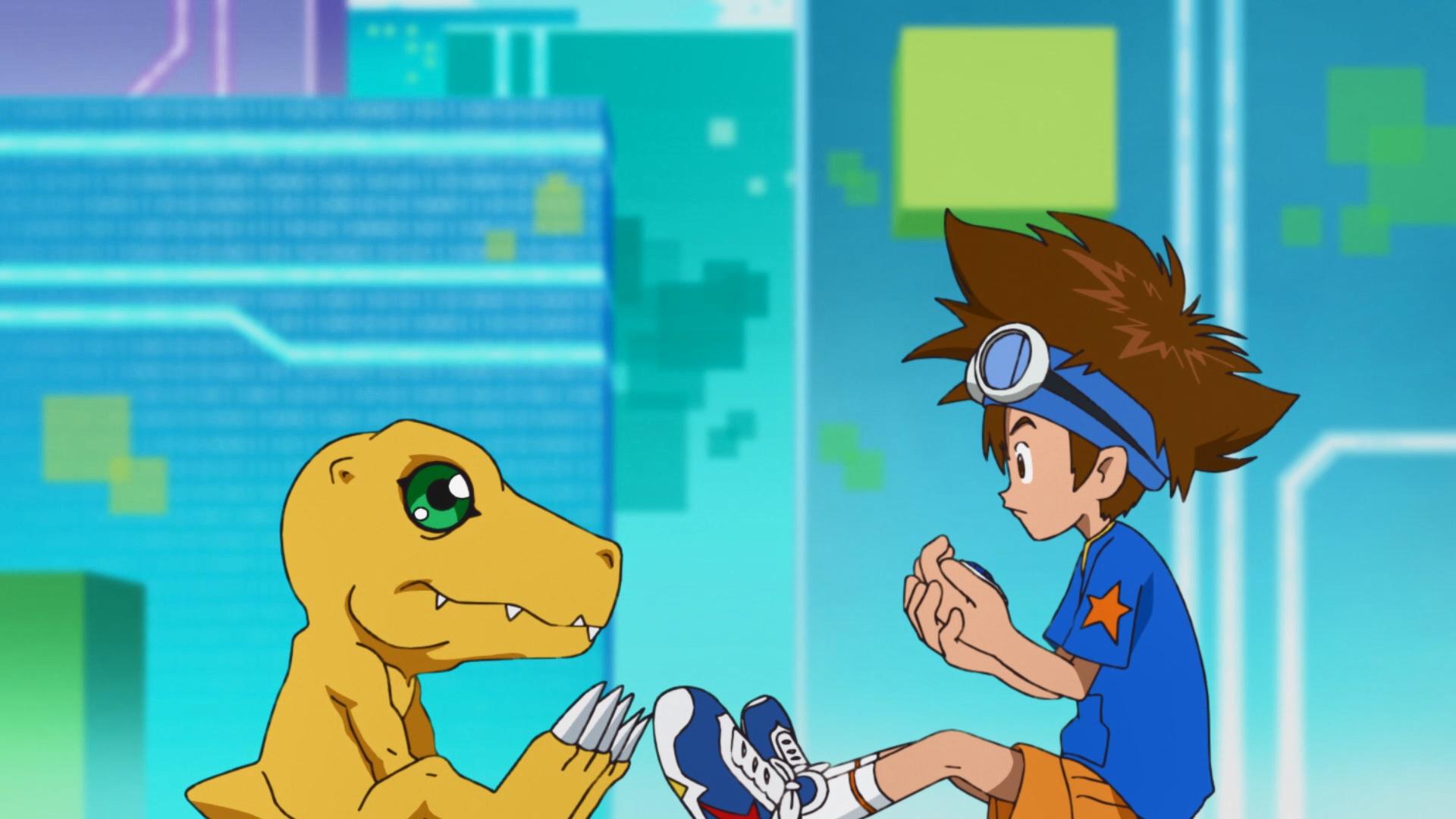 Agumon e Tai em Digimon Adventure
