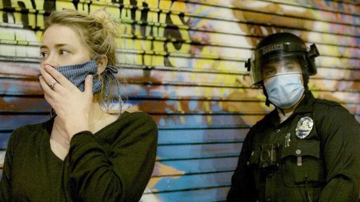 Amber Heard durante protesto