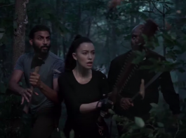 À esquerda, Avi Nash em The Walking Dead