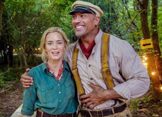 Emily Blunt e Dwayne Johnson em Jungle Cruise
