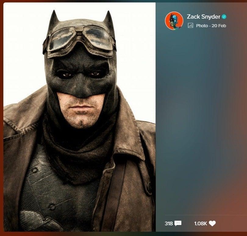 Foto de Batman divulgada por Zack Snyder