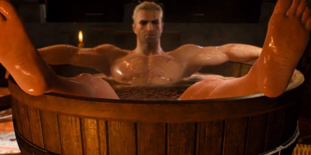 Geralt na banheira no jogo de The Witcher