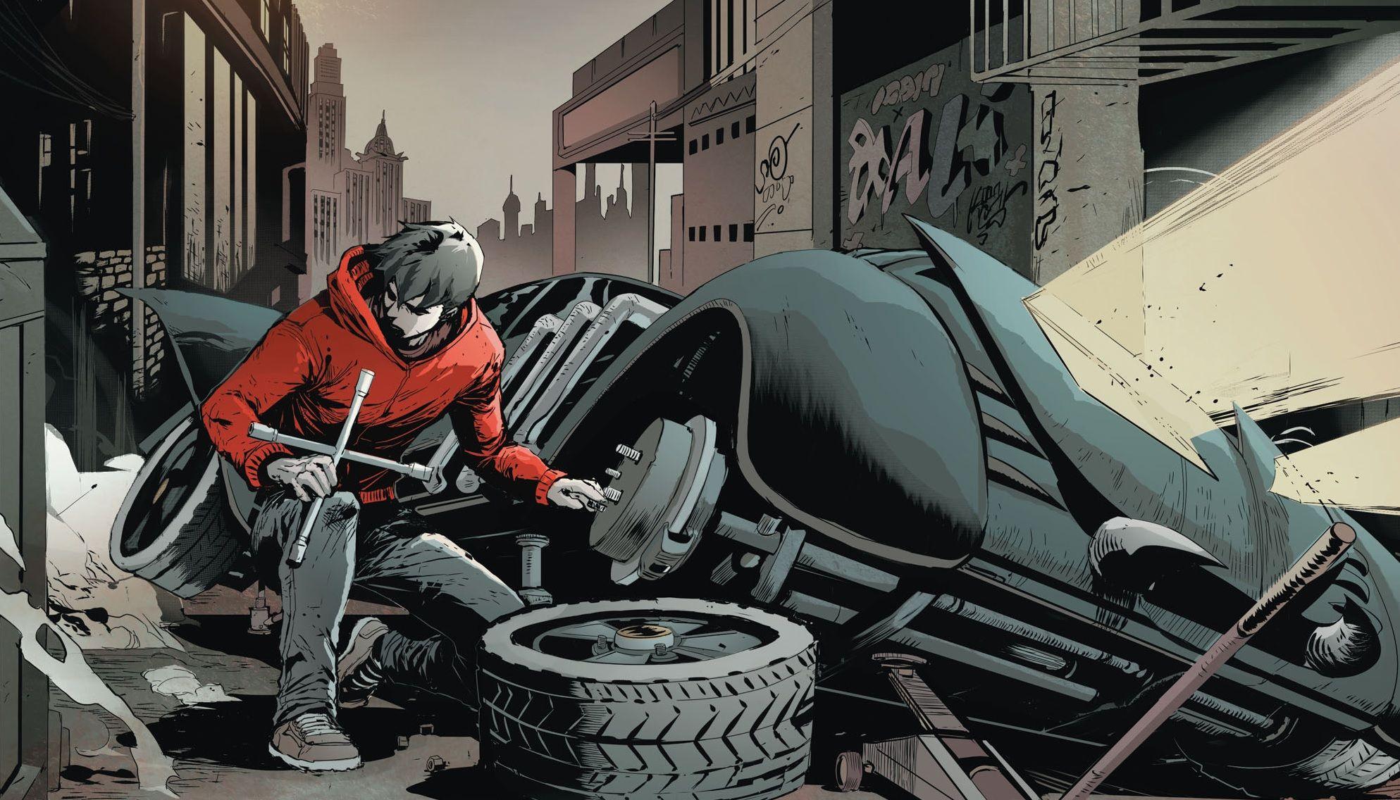 Jason Todd, roubando pneus do Batmóvel