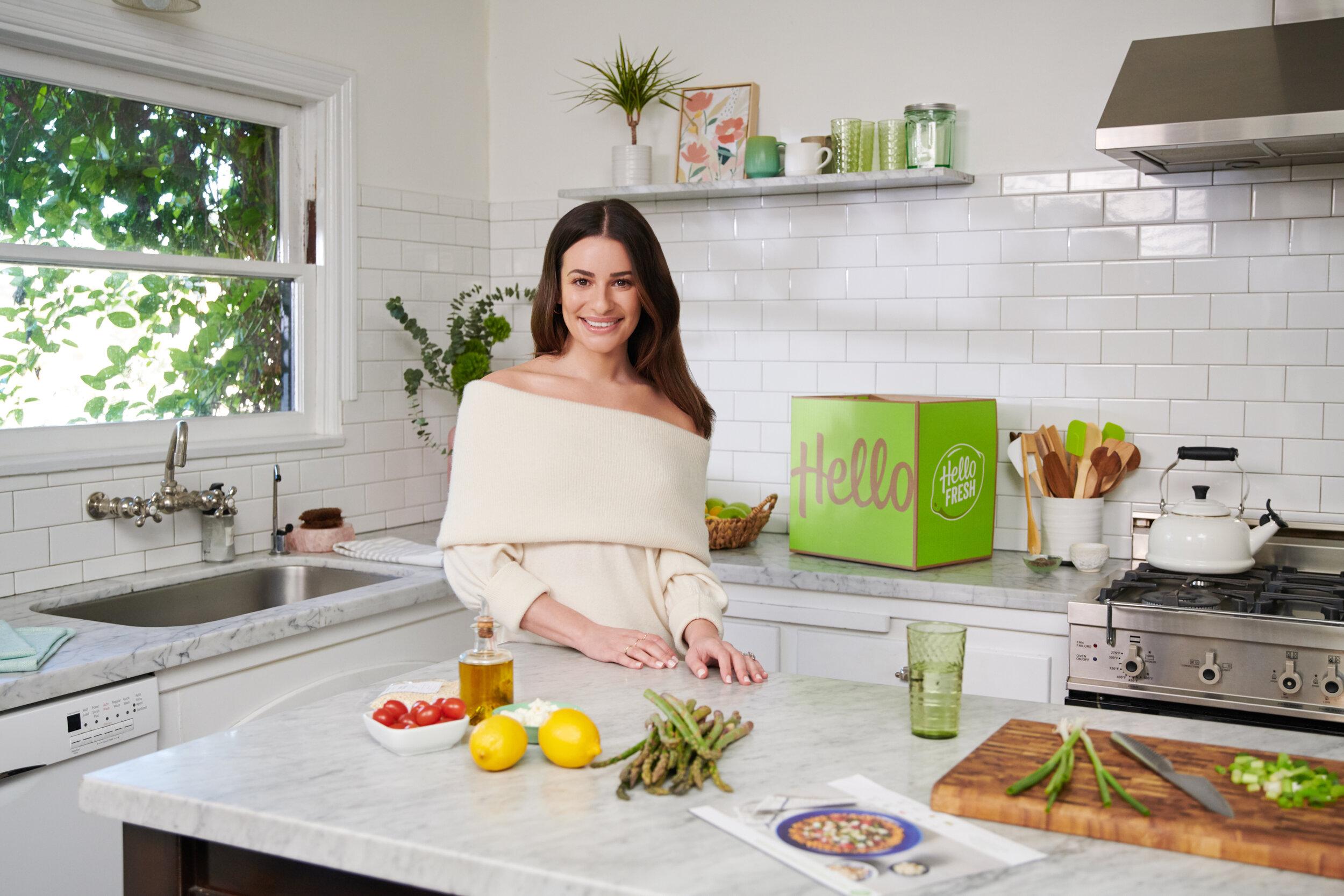 Lea Michele em publicidade da Hello Fresh