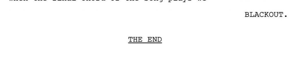 Página do último roteiro de Supernatural