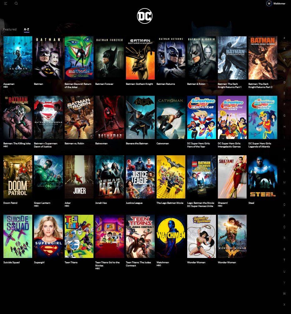 Produtos DC na HBO Max