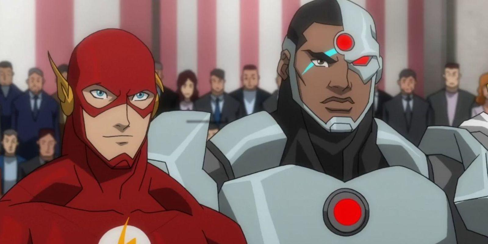 Flash e Cyborg em animação de Liga da Justiça (