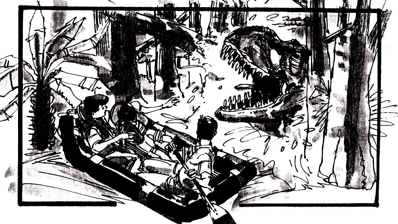 Arte conceitual da cena T-Rex at lagoon em Jurassic Park